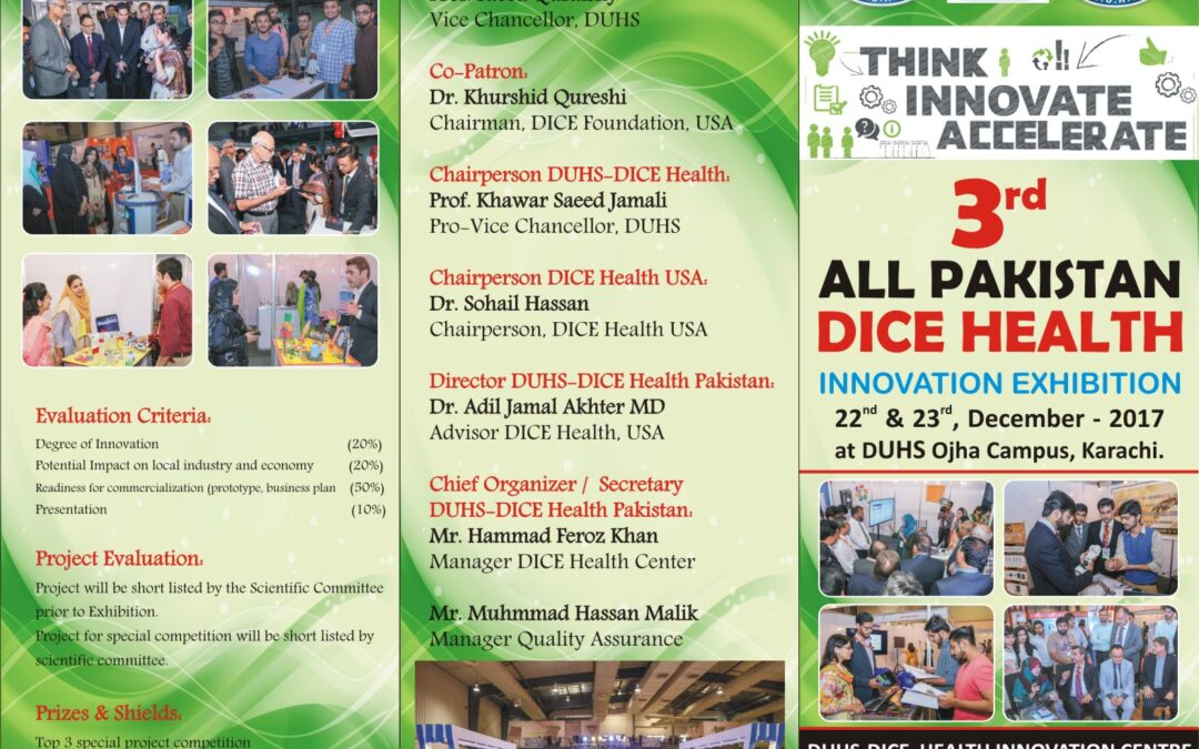 All Pakistan DICE Health Innovation Event 2017 at DUHS on Dec 22 and 23, 2017