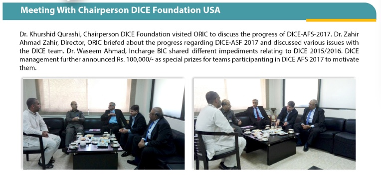 Dr Khurshid Qureshi, Chairman DICE Foundation USA visit to UAF